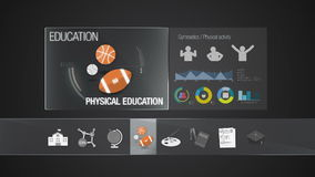 Physical education icon for Education contents.Digital display application. Education icon set animation stock video footage