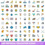 100 physical education icons set, cartoon style. 100 physical education icons set. Cartoon illustration of 100 physical education vector icons isolated on white vector illustration
