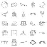 Physical education icons set, outline style Stock Photo