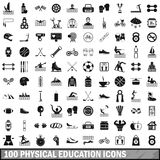 100 physical education icons set, simple style. 100 physical education icons set in simple style for any design vector illustration Vector Illustration