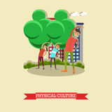 Physical education lesson concept vector illustration in flat style. Stock Images