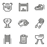 Physical education simple line icons Royalty Free Stock Image