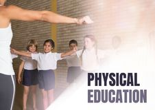 Physical education text and teacher with class Stock Photography