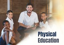 Physical education text and  teacher with class Stock Images