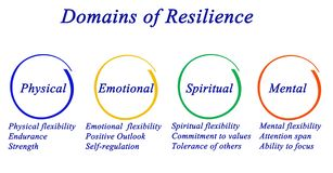 Domains of Resilience. Physical,emotional, spiritual, and mental Domains of Resilience royalty free illustration
