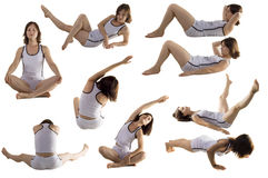 Physical exercise. Collage women on white royalty free stock image
