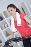 Physical exercise in house Stock Photos