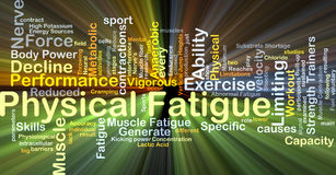 Physical fatigue background concept glowing. Background concept wordcloud illustration of physical fatigue glowing light Stock Photography