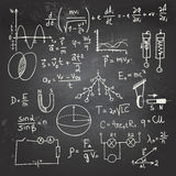 Physical formulas and drawings on a chalkboard. Doodle writing and drawing of physical formulas with a chalk on a blackboard Stock Photo