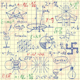 Physical formulas, graphics and scientific calculations. Back to School: science lab objects doodle vintage style sketches. Vintage hand drawn illustration Royalty Free Stock Photo
