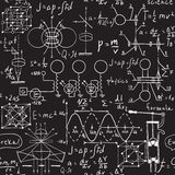 Physical formulas, graphics and scientific calculations on chalkboard. Royalty Free Stock Photo