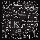 Physical formulas and phenomenons on chalkboard. Stock Photography