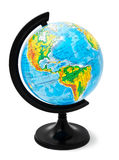 Physical globe isolated on a white stock photos