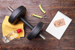 Physical health with sport equipment. Royalty Free Stock Image