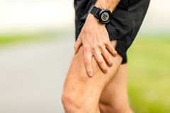 Physical injury, runner muscle pain Stock Photos