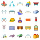 Physical labor icons set, cartoon style Stock Images