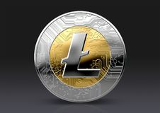 Cryptocurrency Physical Coin. A physical litecoin cryptocurrency in gold and silver coin form on a dark studio background- 3D render Royalty Free Stock Photography