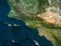 Physical map of California, Los Angeles. Physical map of California, Los Angeles, mountains, ocean and hills, mountain ranges and fault of Sant`Andrea, 3d Stock Images