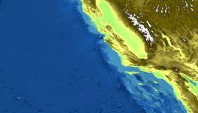 Physical map of California, San Francisco, Los Angeles, mountains, Pacific Ocean and hills, mountain ranges and fault of Sant`Andr. Ea. Nevada. 3d rendering stock illustration