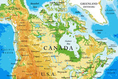 Physical map of Canada stock illustration