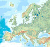 Physical map of Europe. A map of Europe with shaded relief, hypsometric tints, drainage and political borders Royalty Free Stock Images