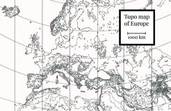 Physical Map of Europe. Highly detailed illustration royalty free illustration