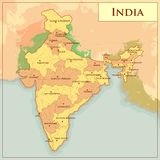 Physical Map of India with different state Stock Images
