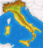 Physical Map of Italy illustration Royalty Free Stock Images