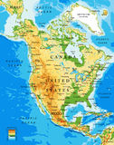 Physical map of North America. Highly detailed physical map of North America,in vector format,with all the relief forms,countries and big cities Royalty Free Stock Photos