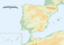 Physical map of spain Stock Photos