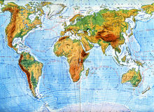 Physical  map of world Royalty Free Stock Images