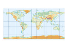 Physical map of the world graticule Royalty Free Stock Photos
