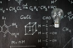 Physical and mathematical sciences. For the engineer drawing on the chalkboard,idea Royalty Free Stock Photo