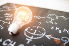 Physical and mathematical sciences. For the engineer drawing on the chalkboard,idea Stock Photo