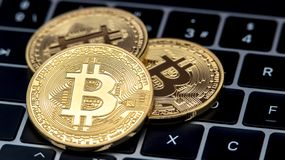 Physical metal golden Bitcoin currency on notebook computer keyboard. BTC stock photo