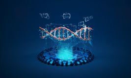 3D model of DNA. A physical model of DNA on the holographic projector. 3D model of DNA. 3D render illustration. Analysis of genetic chains Royalty Free Stock Photos