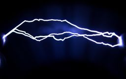 Physical phenomenon. Artificially created spark discharges. stock photo