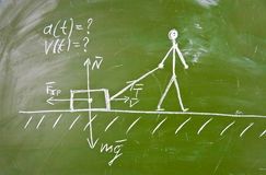 Physical problem sketch on school blackboard stock images