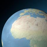 Physical relief map western North Africa. Enlargement of the globe on the western Africa Stock Photos