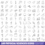100 physical sciences icons set, outline style. 100 physical sciences icons set in outline style for any design vector illustration Royalty Free Stock Photo