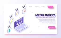 Physical systems, cloud computing, cognitive computing industry 4.0 infographic. Industrial internet or industry 4.0 infographic. royalty free illustration