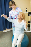 Physical Therapist Helps Senior Woman Stock Photos