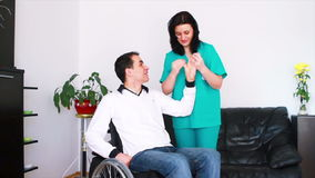 Physical therapist working with disabled patient Stock Photography