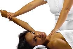 Physical Therapy. Young African American woman getting physical therapy for joints/arm royalty free stock photo