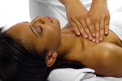 Physical Therapy. Young African American woman getting physical therapy for joints/arm royalty free stock photography