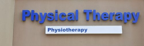 Physical Therapy and Physiotherapy. Sign outside of a physical therapy rehabilitation center Stock Images