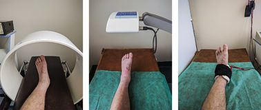 Physical therapy set of exemplary ankle procedures. Stock Photography
