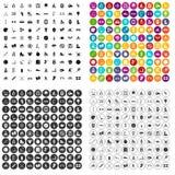 100 physical training icons set vector variant. 100 physical training icons set vector in 4 variant for any web design isolated on white stock illustration