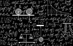 Physical vector seamless pattern with the equations, figures, schemes, plots and other calculations Stock Images