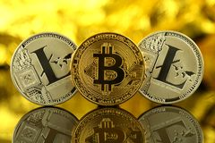 Physical version of Bitcoin and Litecoin, new virtual money. Stock Image